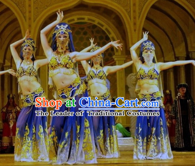 Chinese Folk Xinjiang Dance Costumes and Headwear Complete Set for Women