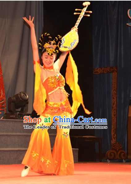 Chinese Classic Fairy Dance Costumes and Headwear Complete Set for Women