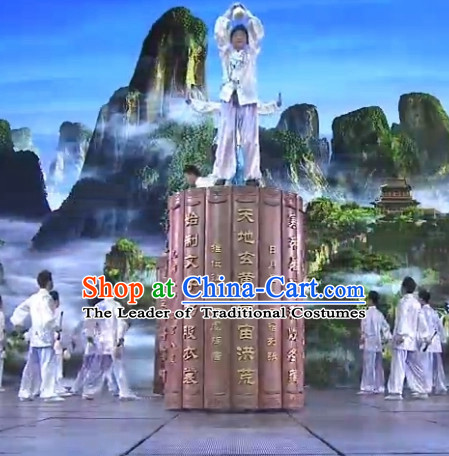 Chinese Classic Folk Dance Costumes Complete Set for Men