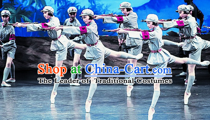 Chinese Folk Red Army Dance Costumes Complete Set for Women