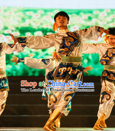 Chinese Classic Mongolian Dance Costumes Complete Set for Men