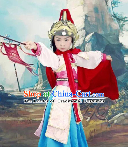 Chinese Hua Mulan Costume Ancient China Ethnic Costumes Han Fu Dress Wear Outfits Suits Clothing for Kids