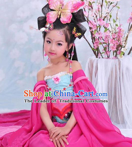 Chinese Tang Dynasty Butterfly Princess Costume Ancient China Ethnic Costumes Han Fu Dress Wear Outfits Suits Clothing for Kids