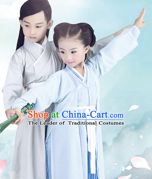 Chinese Swordsman and Swordswomen Costume Ancient China Ethnic Costumes Han Fu Dress Wear Outfits Suits Clothing for Kids