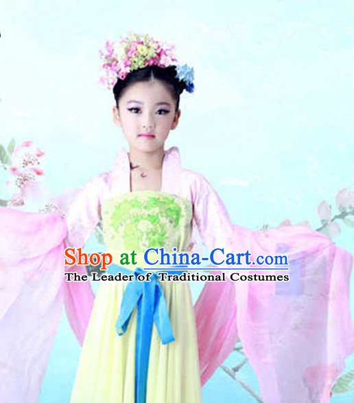 Chinese Tang Dynasty Costume Ancient China Ethnic Costumes Han Fu Dress Wear Outfits Suits Clothing for Kids