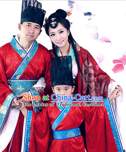Chinese Han Dynasty Costume Ancient China Costumes Han Fu Dress Wear Outfits Suits Clothing for Men Women Kids
