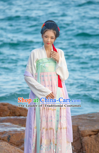 Asian Fashion Chinese Ancient Tang Dynasty Princess Clothes Costume China online Shopping Traditional Costumes Dress Wholesale Culture Clothing and Hair Jewelry for Women
