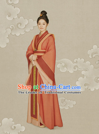 Chinese Han Dynasty Empress Queen Clothing National Costumes for Women