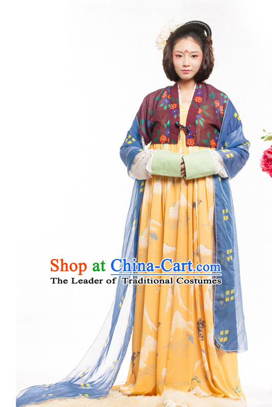 Chinese Ancient Tang Dynasty Spring Summer Costume China online Shopping Traditional Costumes Dress Wholesale Asian Culture Fashion Clothing and Hair Accessories for Women