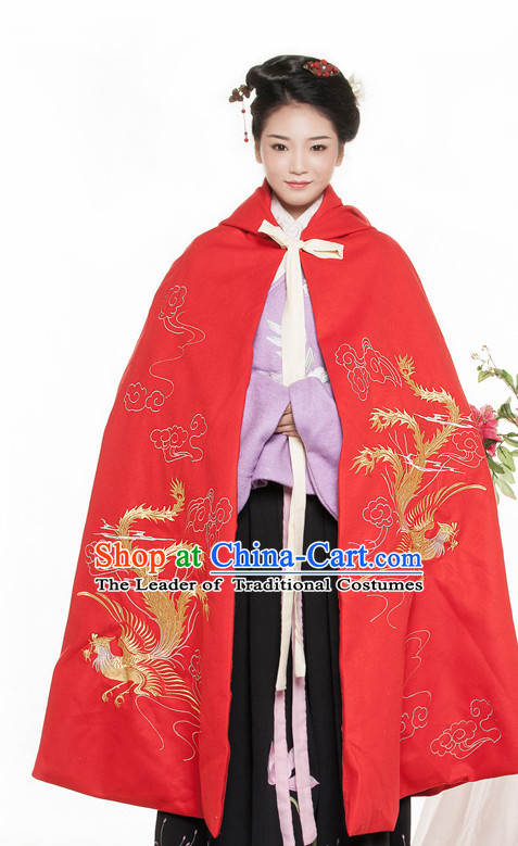 Chinese Ancient Wedding Phoenix Mantle Cape Costume China online Shopping Traditional Costumes Dress Wholesale Asian Culture Fashion Clothing and Hair Accessories for Women