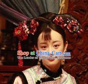 Qing Dynasty Black Style Wigs Lace Front Wig Hair Extension Women Hairpieces Full Wigs Sale