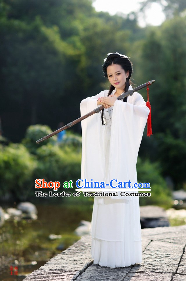Chinese White Kung Fu Girl Costume Clothes