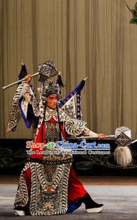Chinese Beijing Opera Armor Costumes and Headwear for Men