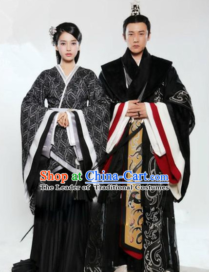 Ancient Chinese Han Dynasty Royal Clothes 2 Copmlete Sets for Husband and Wife Men and Women