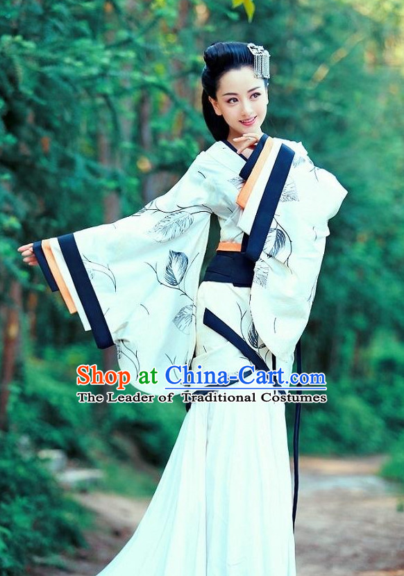 Kimono Chinese Costume Chinese Ancient Costumes Carnival Costumes Fancy Dress and Hair Jewelry Complete Set