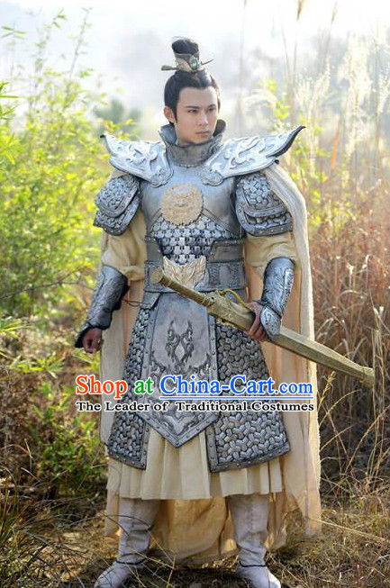 Ancient Chinese General Knight Armor Costume Chinese Costumes Complete Set for Men