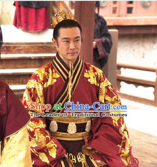 Ancient Chinese Emperor Costume Chinese Costumes and Crown Headwear Complete Set for Men