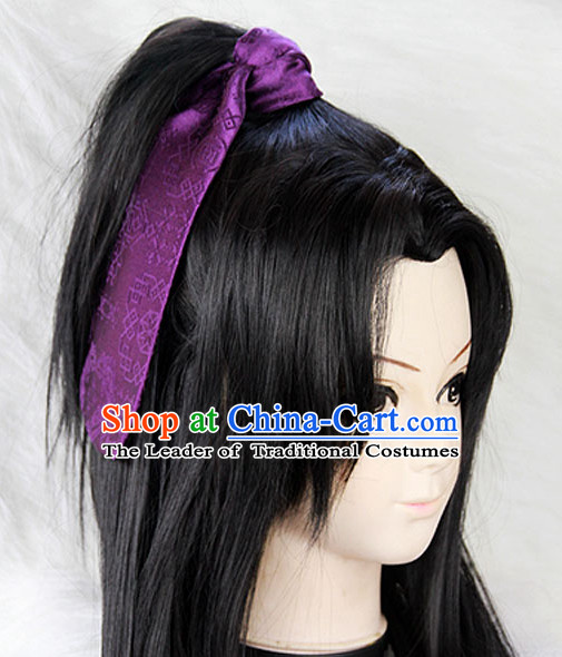 Chinese Ancient Zhang Liang Long Black Wigs Classic Wig for Men