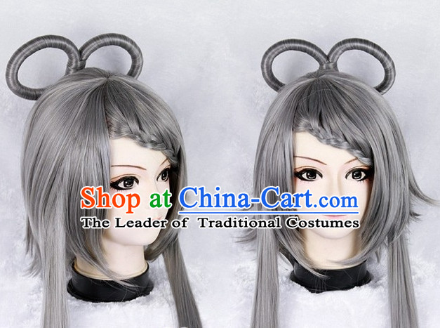 Grey Chinese Ancient Swordwoman Long Wigs Classic Wig for Women