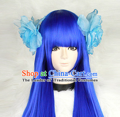 Blue Chinese Ancient Heroine Cosplay Long Wigs Classic Wig for Women