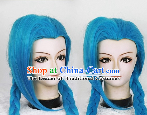 Blue Chinese Ancient Knight Cosplay Long Wigs Classic Wig for Women