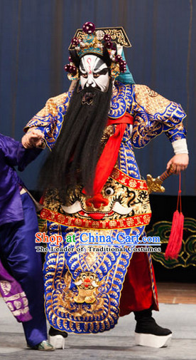 Blue Ancient Chinese Asian Peking Opera Costumes Fighting or Military Character Wu Sheng Costume and Helmet Complete Set for Men