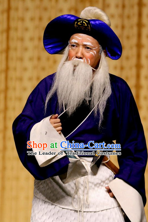 Blue Ancient Chinese Asian Peking Opera Costumes Old Man Costume and Hat Complete Set for Men