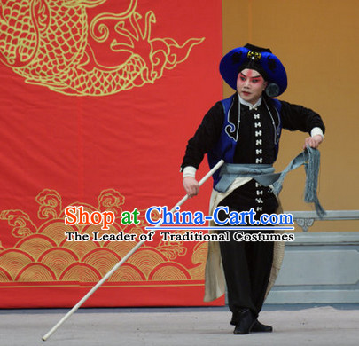 Blue Ancient Chinese Asian Peking Opera Costumes Wu Song Costume and Hat Complete Set for Men