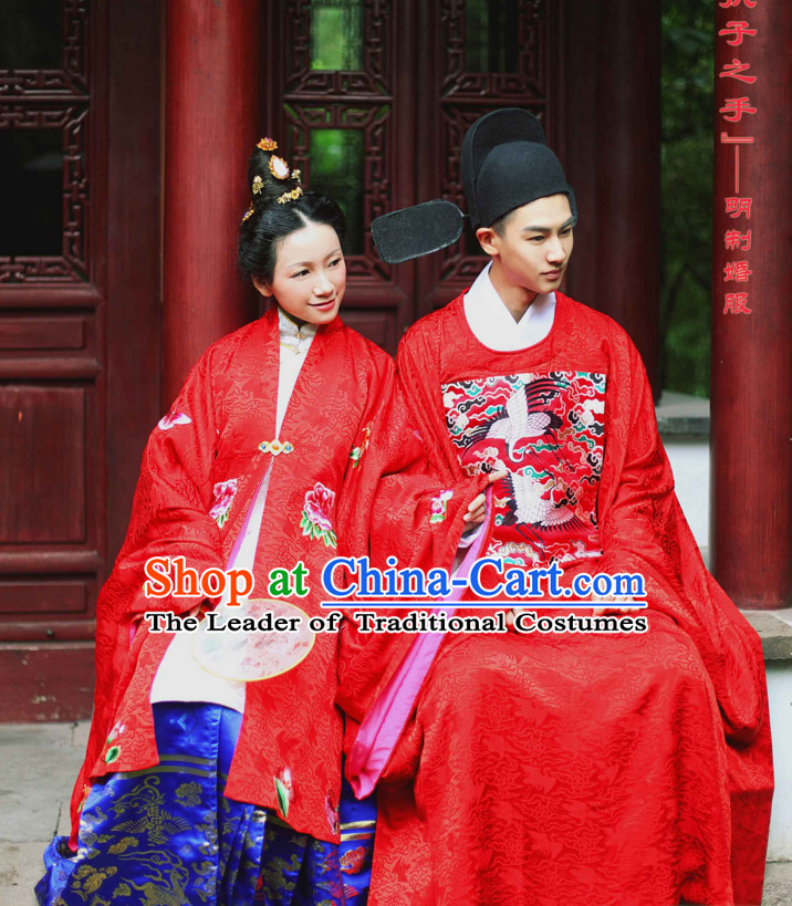 Chinese Costume Ancient Asian Wedding Clothing Ming Dynasty Clothes Garment Outfits Suits Bridal Dress for Wkomen