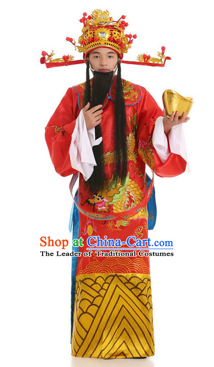 Chinese Opera Costumes Beijing Opera Costume Peking Stage Dress Cai Shen Money God Dragon Robe and Hat Complete Set