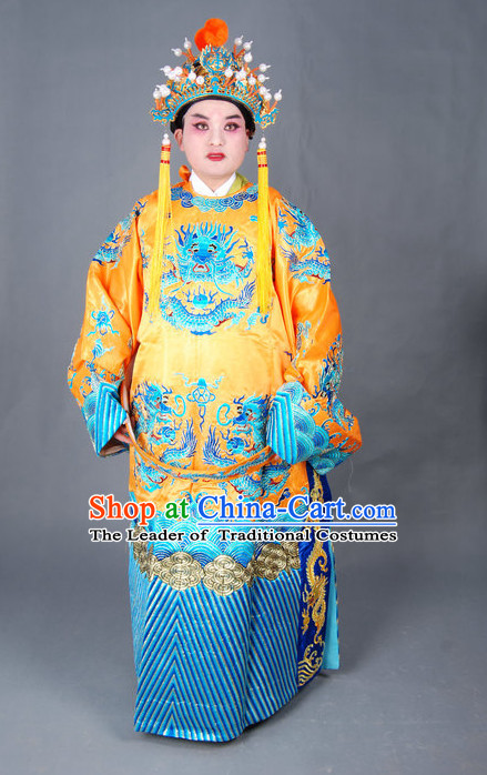 Chinese Opera Costumes Beijing Opera Costume Peking Stage Emperor Dress Dragon Robe Complete Set