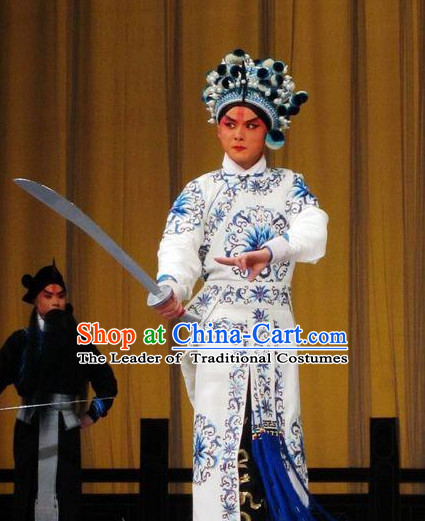 Chinese Opera Costumes Beijing Opera Costume Peking Stage Wu Sheng Knight Dress Dragon Robe Complete Set for Men