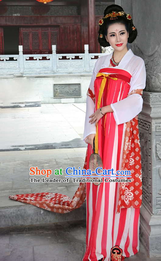 Ancient Chinese Tang Dynasty Clothing and Hair Jewelry Complete Set for Women