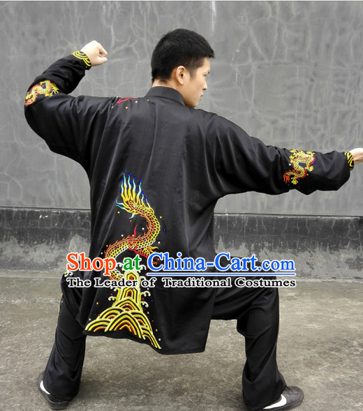 Top Long Sleeves Embroidered Tai Chi Chuan Uniform Taekwondo Karate Outfit Aikido Wing Chun Kungfu Wing Tsun Boys Martial Arts Supplies Clothing