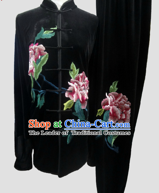 Top Large Peony Tai Chi Chuan Uniform Taekwondo Karate Outfit Aikido Wing Chun Kungfu Wing Tsun Boys Martial Arts Supplies Clothing