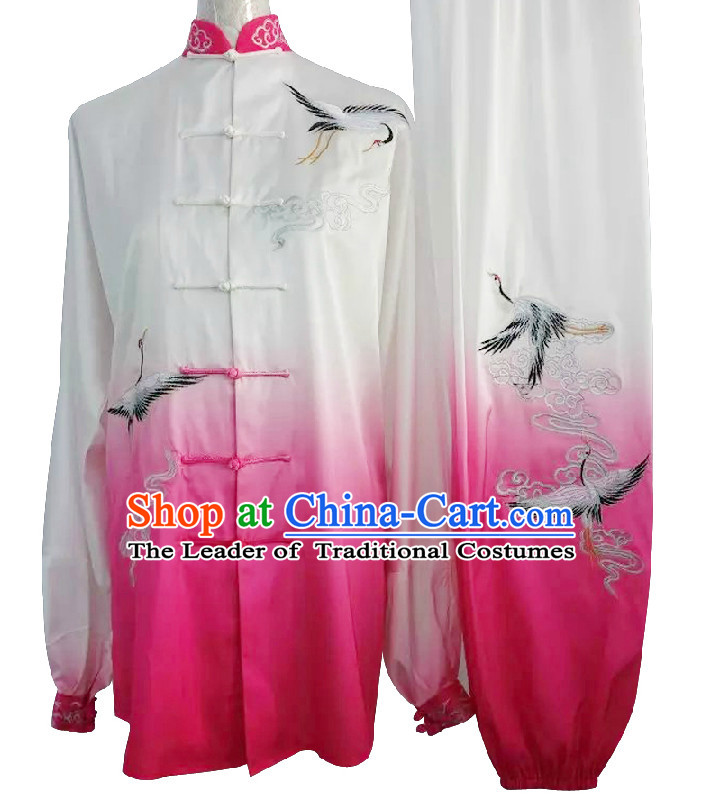 Top Embroidered Cranes Color Transition Wing Chun Uniform Martial Arts Supplies Supply Karate Gear Tai Chi Uniforms Clothing for Women