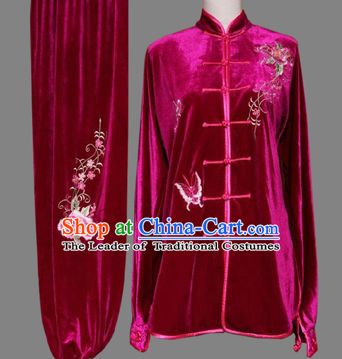 Top Embroidered Flower Wing Chun Uniform Martial Arts Supplies Supply Karate Gear Tai Chi Uniforms Clothing for Women or Men