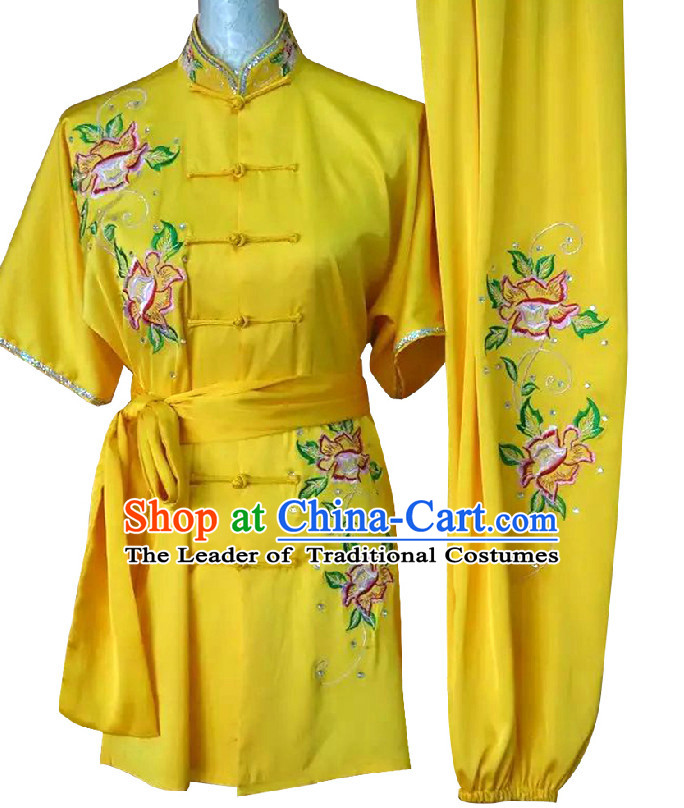 Top Embroidered Flower Wing Chun Uniform Martial Arts Supplies Supply Karate Gear Tai Chi Uniforms Clothing for Girls or Boys