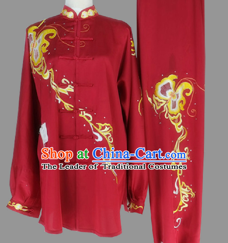 Red Top Wing Chun Uniform Martial Arts Supplies Supply Karate Gear Tai Chi Uniforms Clothing for Girls