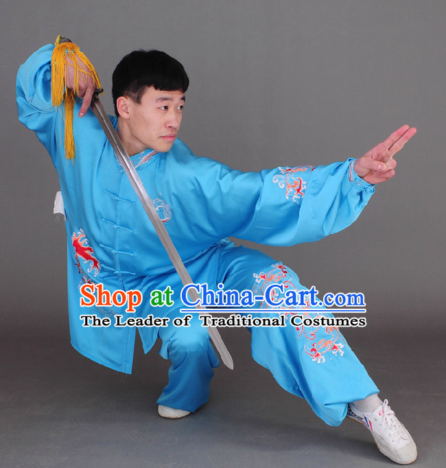Blue Top Long Sleeves Wing Chun Uniform Martial Arts Supplies Supply Karate Gear Tai Chi Uniforms Clothing for Boys and Men