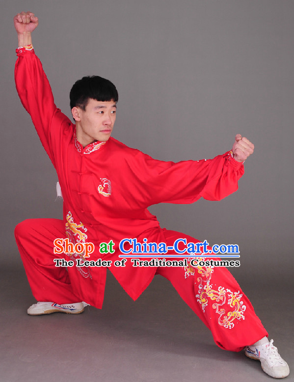 Red Top Long Sleeves Wing Chun Uniform Martial Arts Supplies Supply Karate Gear Tai Chi Uniforms Clothing for Boys and Men