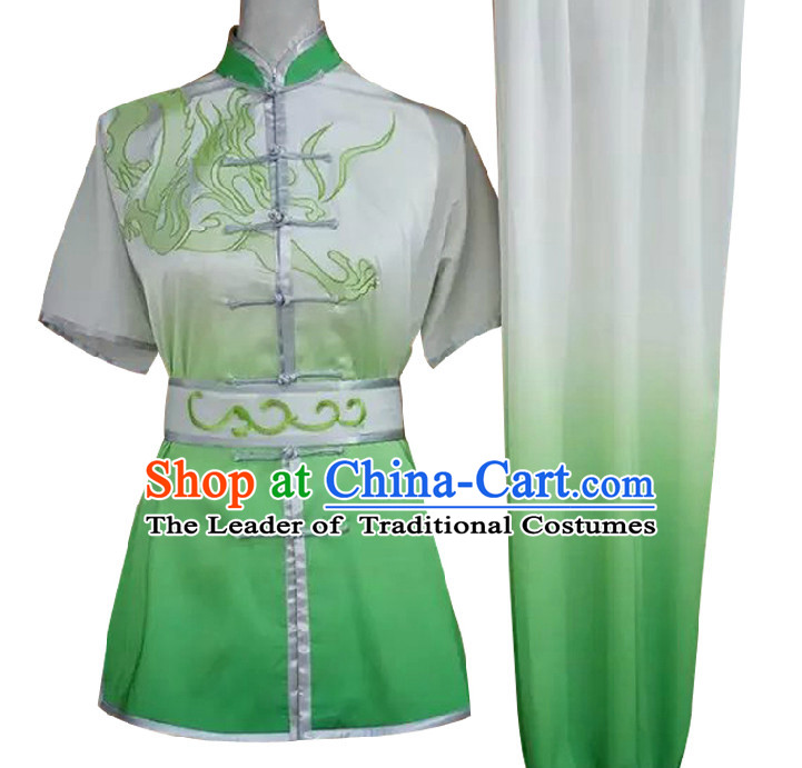 Top Short Sleeves Color Transition Embroidered Phoenix Wing Chun Uniform Martial Arts Supplies Supply Karate Gear Tai Chi Uniforms Clothing for Women and Girls