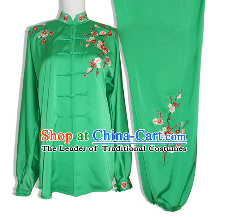 Top Long Sleeves Embroidered Plum Blossom Wing Chun Uniform Martial Arts Supplies Supply Karate Gear Tai Chi Uniforms Clothing for Women and Girls