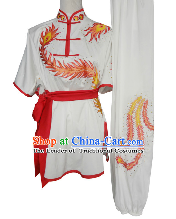 Top Short Sleeves Embroidered Phoenix Wing Chun Uniform Martial Arts Supplies Supply Karate Gear Tai Chi Uniforms Clothing for Women and Girls
