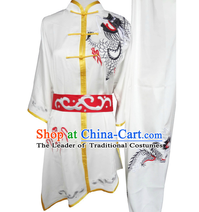 Top Short Sleeves Embroidered Dragon Tai Chi Wing Chun Uniform Martial Arts Supplies Supply Karate Gear Martial Arts Uniforms Clothing for Men or Women