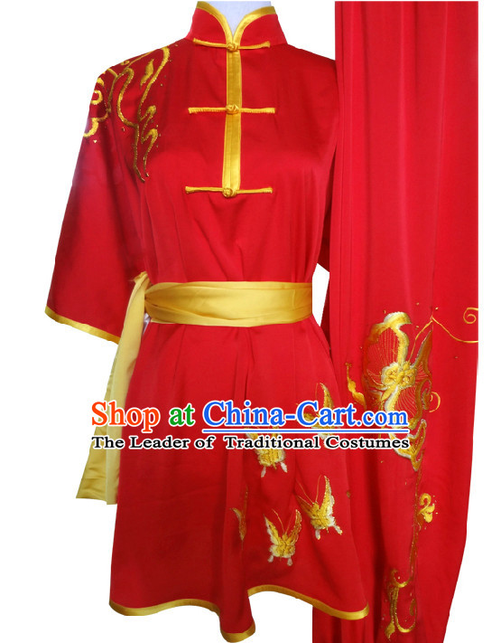 Top Short Sleeves Embroidered Butterfly Tai Chi Wing Chun Uniform Martial Arts Supplies Supply Karate Gear Martial Arts Uniforms Clothing for Women and Girls