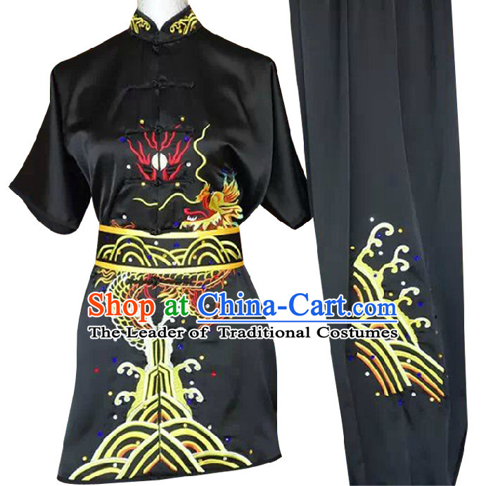 Top Dragon Embroidery Kung Fu Martial Arts Taekwondo Karate Uniform Suppliers Clothing Dress Costumes Clothes for Men Women Adults Boys Girls Kids