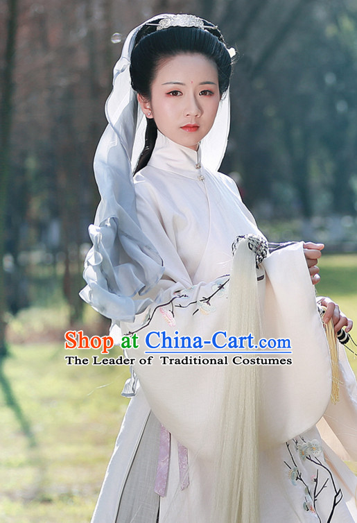 Chinese Ming Dynasty Nun Wear Clothing and Hair Jewelry Complete Set for Women