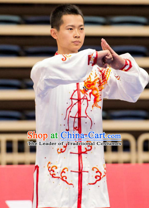 White Tai Ch Swords Taiji Tai Ji Sword Martial Arts Supplies Chi Gong Qi Gong Kung Fu Kungfu Uniform Clothing Costume Suits Uniforms for Men and Boys
