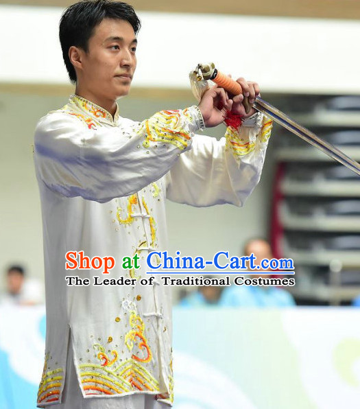 White Tai Chi Swords Taiji Tai Ji Sword Martial Arts Supplies Chi Gong Qi Gong Kung Fu Kungfu Uniform Clothing Costume Suits Uniforms for Men and Boys